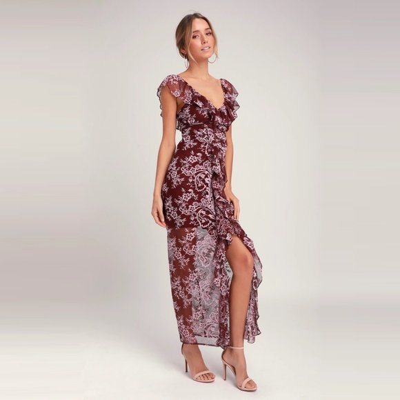 WAYF Marie Floral Ruched Lace Ruffled Maxi Dress